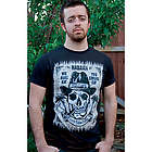 Mens Black T-Shirt Skull with Hat