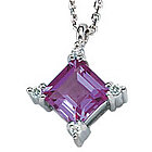 14K Diamond Princess Amethyst Charm Pendant Necklace