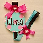 Hand Painted Round Wall Letter Hair Ribbon Holder in Aqua/Pink