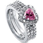 Sterling Silver Pink CZ Halo Heart Wedding Ring Set