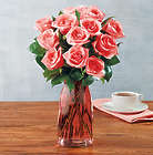 12 Stems of Pink Roses in Pink Vase