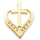 14kt Yellow Gold Treasured Cross Heart Pendant