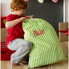 Personalized Green Stripe Santa Sack