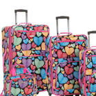 4-Piece Hearts Softside Rolling Luggage Set with Hearts Pattern