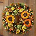 Preserved Autumn Sunflower Wreath & Centerpiece