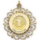14k Yellow Gold Filigree Outline Confirmation Medal