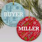 Personalized Holiday Word-Art Round Ceramic Ornament