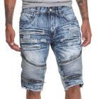 Mens Dark Wash Moto Style Denim Shorts with Zipper Trim