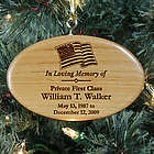 Personalized Military Memorial Wooden Oval Ornament