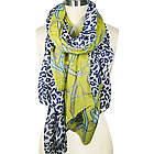 Leopard and Chain Print Green Scarf