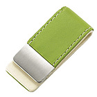 Personalized Lime Green Leatherette Money Clip