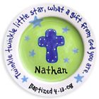 Personalized Blue Green Cross Baptism Keepsake Plate