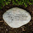 Personalized Floral Cross Memorial Garden Stone