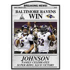 Personalized Baltimore Ravens Super Bowl Commemorative Plaque