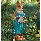 Hand-Painted Fox Garden Statue with Watering Can