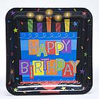 "10"" Square Happy Birthday Plates"