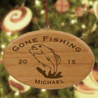 Engraved Fishing Wooden Oval Ornament