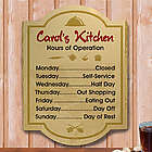 Hours of Operation Personalized Kitchen Wall Sign