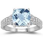 Aquamarine & Diamond Antique Filigree White Gold Ring