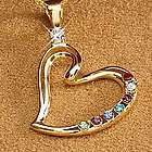 Gold Personalized Mother's Heart Birthstone Pendant