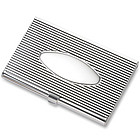 Silver Ribbed Business Card Case with Oval Center