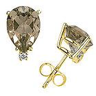 Smokey Quartz and Diamond Stud Earrings in 14k Yellow Gold