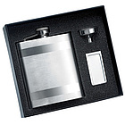 Stainless Steel Flask & Chrome Money Clip Gift Set