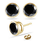 1.00 Ct Round Black Diamond Stud Earrings in 14K Yellow Gold