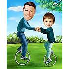 Personalized Father and Son Unicycles Caricature