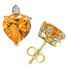 Heart Citrine and Diamond Stud Earrings in 14K Yellow Gold