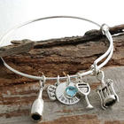 Personalized Wine Themed Charms Bangle Bracelet