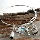 Personalized Wine Themed Charms Bangle Bracelet