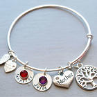 Mother Personalized Wire Bangle Bracelet with Name Tag Birthstone
