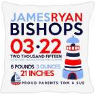 Birth Announcement New Baby Lighthouse Pillow