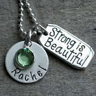 Personalized Strong Is Beautiful Birthstone Necklace
