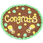 Congrats Baby Brownie Cake with Green Icing