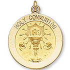14k Yellow Gold Eucharist Carved Communion Medal - Small