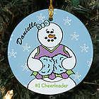 Personalized Ceramic Cheerleader Snowman Ornament