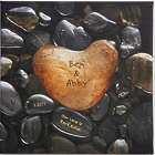 "Personalized 12"" Heart Rock Canvas Wall Art"