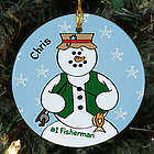 Personalized Ceramic Fisherman Snowman Ornament