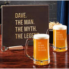 The Man the Myth the Legend Personalized Beer Glasses in Wood Box