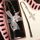 Cross Bookmark with Pink Crystals