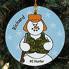 Personalized Ceramic Hunter Snowman Ornament