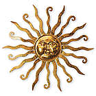 Shimmering Gold Metal Sun Wall Hanging