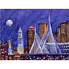 Zakim Bridge Moonlight Art Print