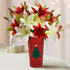 Holiday Lilies with Velvet Christmas Tree Vase