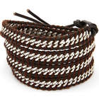 Chen Rai Curb Chain Inlay Brown Leather Wrap Bracelet