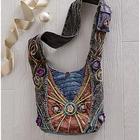 Crochet Flower Embellished Shoulder Bag