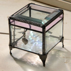 Pink Waterglass Stained Glass Keepsake Box with a Charm