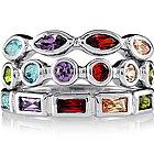 Sterling Silver Multicolor Cubic Zirconia Stackable Rings
